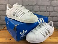 ADIDAS OG LADIES UK 5.5 EU 38 2/3 SUPERSTAR COUPLE SKATE TRAINERS WHITE SILVER M