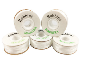 MADEIRA Pre Wound 'L' Style White Polyester Embroidery Machine Bobbins, Thread