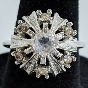Vintage CZ Cubic Zirconia Prong Set Rhinestone Cocktail Dinner Ring Costume 7