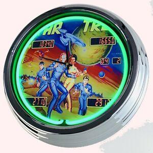 """N-0700 Wanduhr """"Flipper Star Trek Bally 1978"""" Deko Neonuhr Küche Wohnzimmer Uhr"""