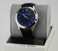 6e79d457f191 NEW AUTHENTIC MICHAEL KORS SLIM RUNWAY BLUE SILVER BLACK MEN S MK8620 WATCH