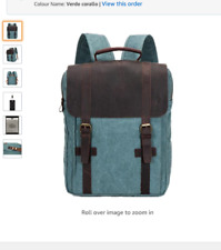 NEW 'Aidonger' Aqua Green Canvas & Brown Leather Unisex Rucksack 30 x 10 x 42 cm