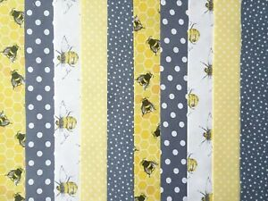 20 JELLY ROLL STRIPS COTTON PATCHWORK FABRIC 22 INCH LONG ~ GREY / LEMON BEE