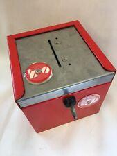 Rare Vintage Lockable Safety Deposit Box Red Retro 'Queen Garden' Metal Safe