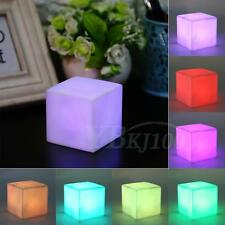 4.5V PVC LED 7 Color Changing Mood Cubes Night Glow Lamp Light Gadget Home Decor