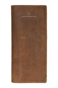 Men's Vintage Leather Long Wallet RFID Protected Large Card Holder Coat Wallet