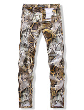 Mens Straight Nightclub Show Casual Trousers Snakeskin Painted Skinny Cool Pants