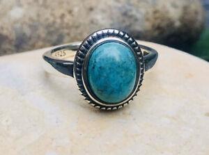925 Sterling Silver Ring,Natural Turquoise Ring, (UK N/O),Statement Vintage Ring