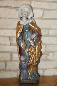 große alte Holzfigur Heilige Elisabeth 60cm Heiligenfigur alpenländisch