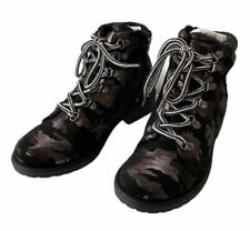 Dolce Vita Kids Girls Leda Combat Boots Booties Camoflauge Gray Black Sz 3 M