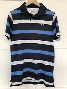 Under Armour Heat Gear Blue Golf Polo Shirt Mens Medium