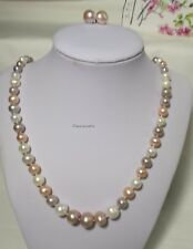 Genuine Silver 6-12mm near RND 3 colour freshwater pearls Necklace+earing L57cm
