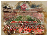 Ohio State Buckeyes Poster Watercolor Art Print Man Cave Decor 12x16""