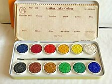 Vintage GUITAR Water Color PAINT Cake Coulor Tin with 12 Colors Watercolor NEW