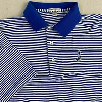 Peter Millar Polo Shirt Mens L Blue White Short Sleeve Hi-Low Hem Striped Polo