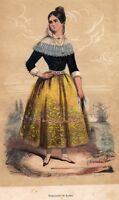 Gravure XIXe Femme Palma Mujer Palma de Mallorca Espagne Costume  España 1848