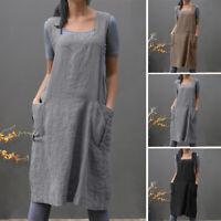 ZANZEA Femme 100% coton Sans Manche Casuel en vrac Poche Robe Simple Dresse Plus
