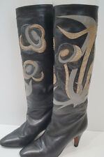 RAYNE Grey Leather Beige & Pale Grey Snakeskin Detail Tall Boots UK7.5; EU40.5