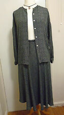 JAEGER 2 Piece Silk Blend Polka Ditsy Suit Flared Skirt Buttoned Blouse UK 12