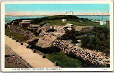 Old Gun Positions, Fort Sumter, Charleston SC Vintage Postcard K17