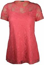 New Women's Plus Size Short Sleeve Floral Contrast Lace Tunic Tops 14-28