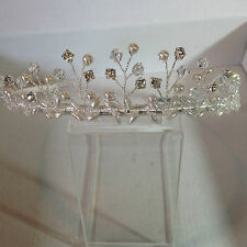 Silver Alloy hand wired traditional style tiara with rice pearls beads & crysta