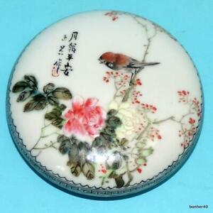CHINESE PORCELAIN HANDPAINTED FAMILLE ROSE SIGNED REPUBLIC SEAL BOX