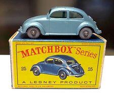 Vintage Matchbox Lesney #25 Silver Wheel VOLKSWAGEN Sedan BEETLE Bugin in BOX