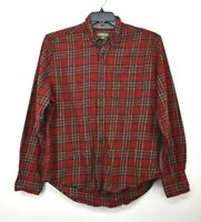 Eddie Bauer Mens Red Flannel Plaid Button Down Long Sleeve Casual Cotton Shirt L