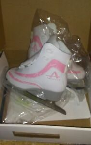 American Athletic Girl's Soft Boot Ice Skates White pink size 2