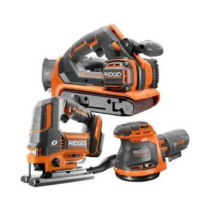 RIDGID Cordless OCTANE Brushless Jig Saw Belt/Random Orbit Sander 18V 3 Tool Kit