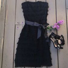NWT $398 Size 10 Betsey Johnson Silk Dress Black Tiered Ruffles Prom Cocktail