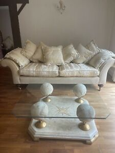 Two Parker and Farr 3 Seater Gold Sofas