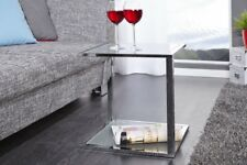 Design Table basse chrome en argent d'appoint repro Art Déco verre dépoli
