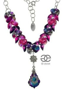 ORIGINAL CRYSTALS FABULOUS NECKLACE *VITRAIL ORCHIDEA* STERLING SILVER 925