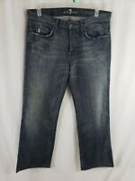7 for All Mankind A Pocket Mens Denim Blue Jeans Size 34 x 31 Straight Leg Med