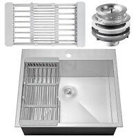 "25"" x 22"" x 9"" Stainless Steel Top Mount Kitchen Sink Single Basin w/ Tray Kit"