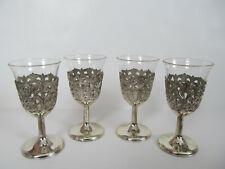 "Vintage Sherry Glasses Metal & Glass Japan Shot Liquor 4"" Tall Set of 4 I"