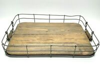 """Rustic Wooden Wire Serving Tray Platter Home Décor 19"""" X 13"""" X 3"""""""