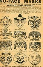 1929 small Print Ad of Nu-Face Masks devil clown hobo seaman Indian chief & maid