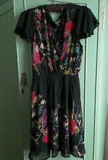 Mela Loves London black floral  dress size 12
