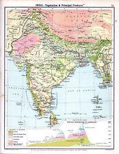 INDIA - VEGETATION & PRINCIPAL PRODUCTS 1905 Robertson & Bartholomew ANTIQUE MAP