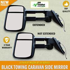 Black HighVis Electric Towing Side Mirror Pair Mazda BT 50 Series Indicators