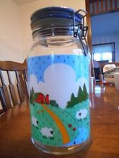 "Farmyard Canister (s) 9.5"" Glass Metal Hinge Nina Anchor Hocking 1983 Blue White"