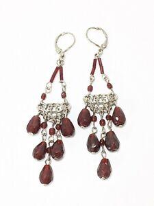 Silver Tone Burgundy Red Glass Bead Chandelier Dangle Earrings