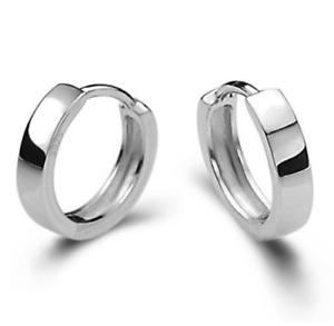 925 Small Round Womens Mens Sterling Silver Hoop Sleeper Huggie Studs Earrings