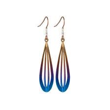 Titanium 3 Dimensional Brown Drop Earrings