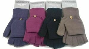 Womens Fingerless Capped Half Gloves Warm Shooting Flaps Mittens Combo 2 in 1