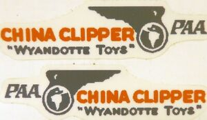 Replacement water slide decal set for Wyandotte China Clipper  airplane