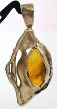 Artisan Amber Pendant Sterling Silver Slide 925 Hand Crafted Vintage Jewelry